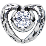 Clear Gem Stainless Steel Have a Heart Cheater Plug