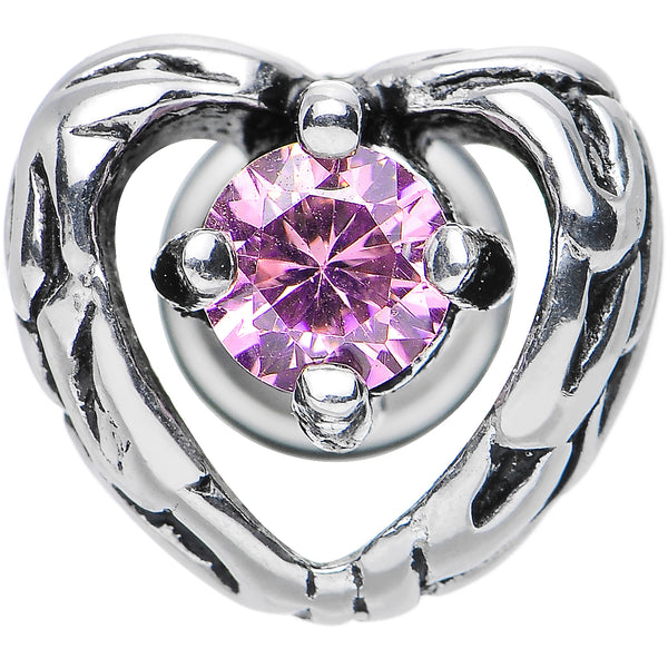Pink Gem Stainless Steel Have a Heart Cheater Plug