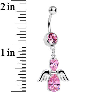 Pink Cubic Zirconia Bowling with My Angel Dangle Belly Ring