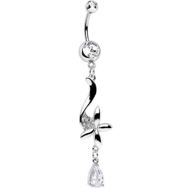 Clear Cubic Zirconia Floating on the Breeze Flower Dangle Belly Ring