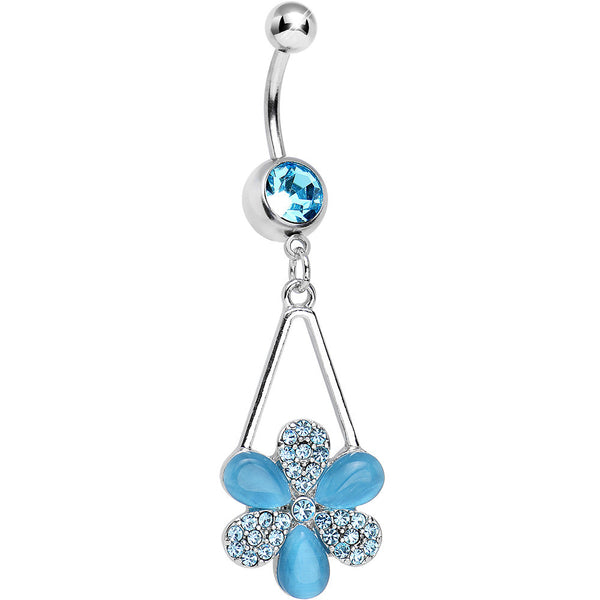 Aqua Gem Twinkling Crystal Pinwheel Flower Dangle Belly Ring