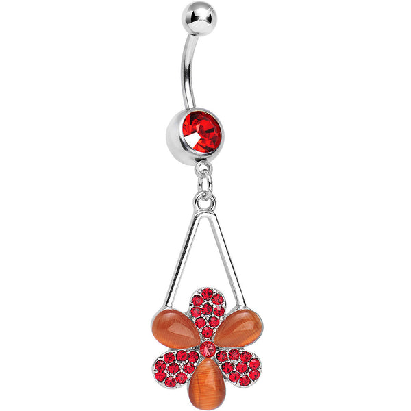 Red Gem Twinkling Crystal Pinwheel Flower Dangle Belly Ring