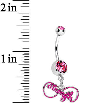 Pink Gem Infinite Strength Dangle Belly Ring