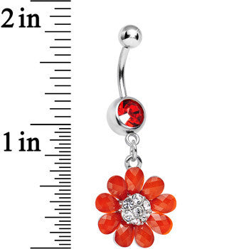 Red Gem Crystal Petal Power Flower Dangle Belly Ring
