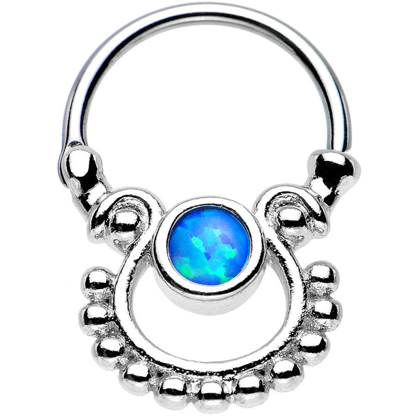 Blue Opal Egyptian Goddess Dangle Septum Clicker