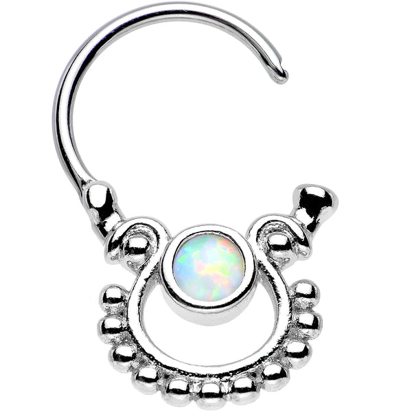 White Opal Egyptian Goddess Dangle Septum Clicker