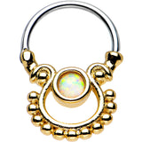 White Opal Gold IP Egyptian Goddess Dangle Septum Clicker