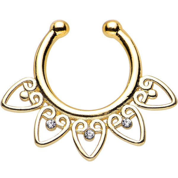 Clear Gem Gold IP Tribal Hearts Non-Pierced Clip On Septum Ring