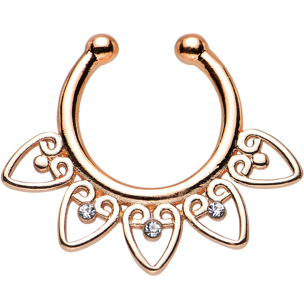 Clear Gem Rose Gold IP Tribal Hearts Non-Pierced Clip On Septum Ring