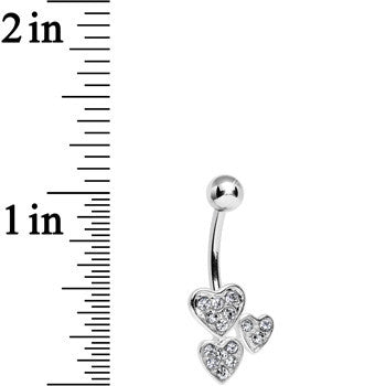 Clear Gem Trebled Heart Belly Ring