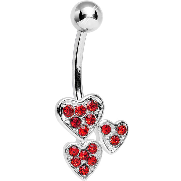 Red Gem Trebled Heart Belly Ring