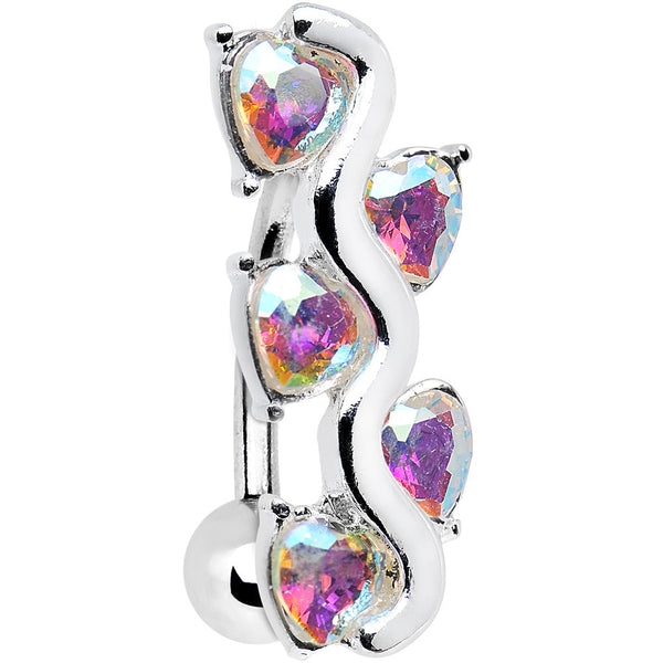 Aurora Gem Cluster of Hearts Top Mount Belly Ring