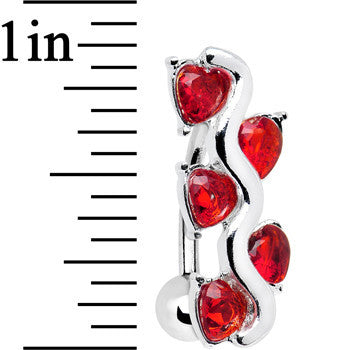Red Gem Cluster of Hearts Top Mount Belly Ring