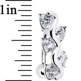Clear Gem Cluster of Hearts Top Mount Belly Ring