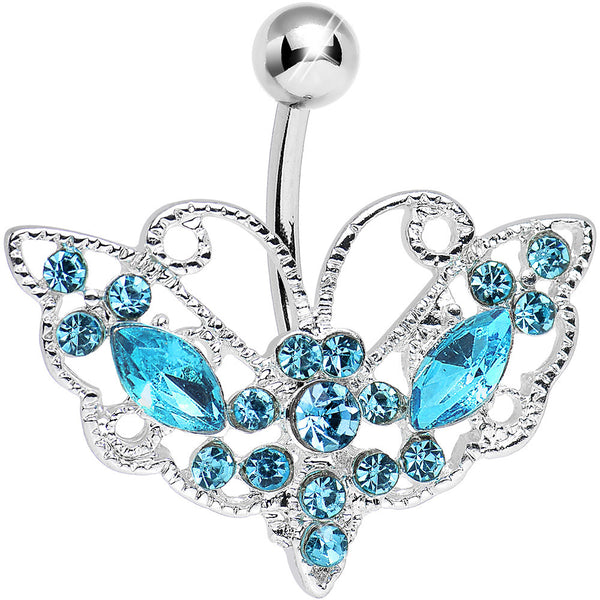 Aqua Gem Victorian Bewitching Butterfly Belly Ring