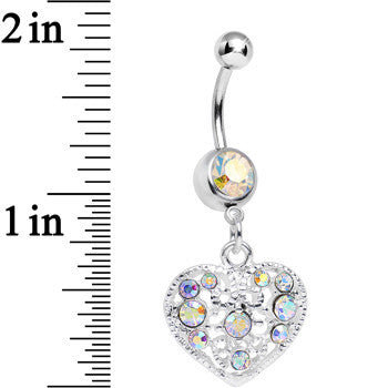 Aurora Gem Lacy Heirloom Heart Dangle Belly Ring