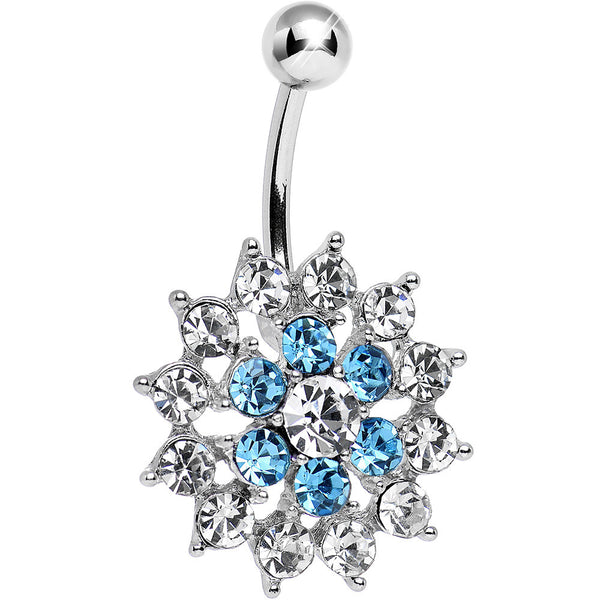 Aqua Clear Cubic Zirconia Beauteous Blooming Flower Belly Ring