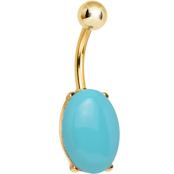 Aqua Opal Gold PVD Elliptical Belly Ring