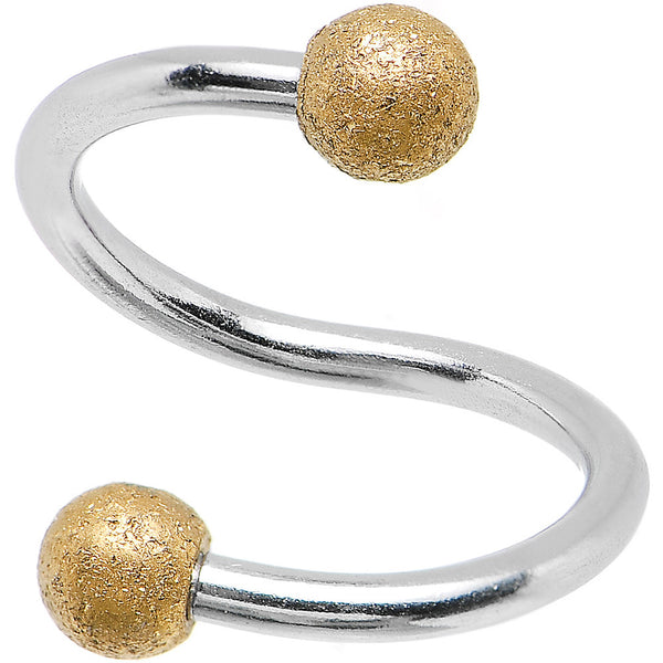 "16 Gauge 3/8"" Gold Sandblasted Steel Spiral Barbell 3mm Ball"