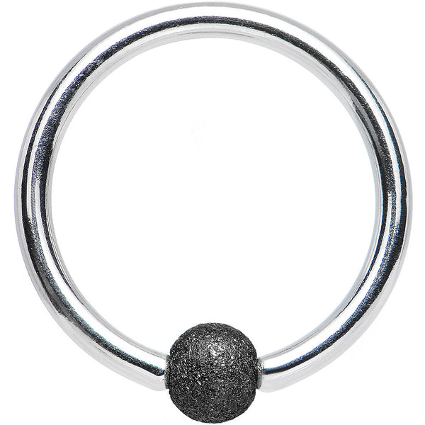 "16 Gauge 3/8"" Black Sandblasted Steel BCR Captive Ring 3mm Ball"