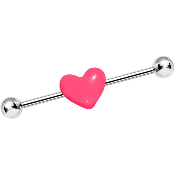 14 Gauge Pink Valentines Day Heart Industrial Barbell 37mm
