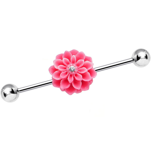14 Gauge Aurora Gem Pink Carnation Flower Industrial Barbell 37mm