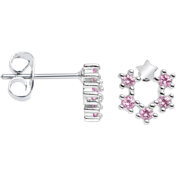Pink Cubic Zirconia Crown of Stars Stud Earrings