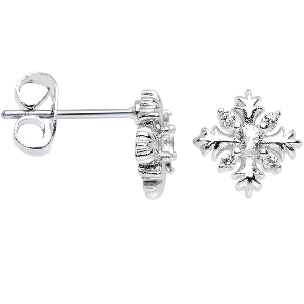 Clear Cubic Zirconia Sparkling Snowflake Stud Earrings