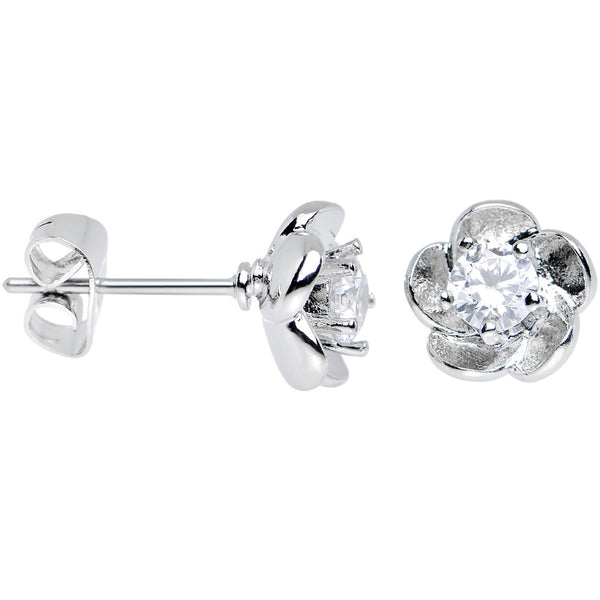 Clear Cubic Zirconia Charming Springtime Flower Stud Earrings
