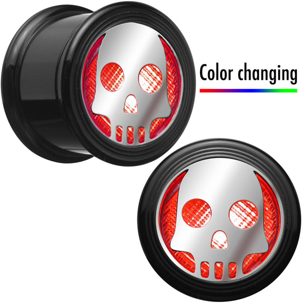 "3/4"" Multicolor Flashing Skull LED Light Up Screw Fit Plug Set"