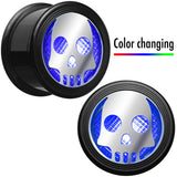 "7/8"" Multicolor Flashing Skull LED Light Up Screw Fit Plug Set"