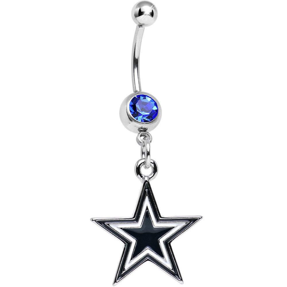 Officially Licensed Nfl Blue Gem Dallas Cowboys Dangle Belly Ring