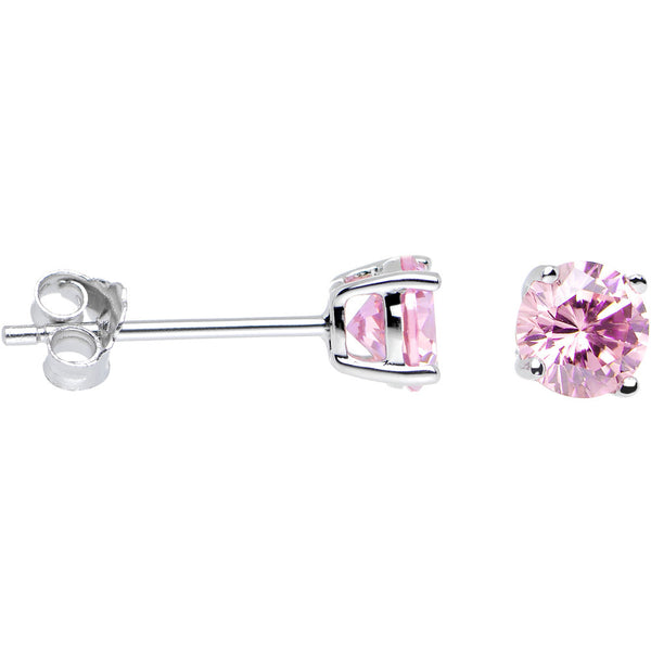 925 Silver Pink 5mm Cubic Zirconia Radiant Round Stud Earrings