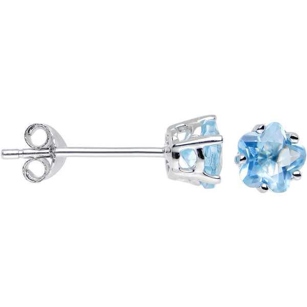 925 Silver Aqua 5mm Cubic Zirconia Dainty Flower Stud Earrings