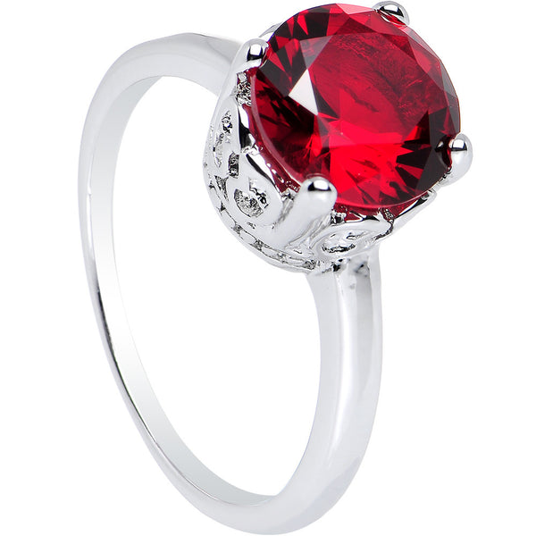 Red Cubic Zirconia Pretty Princess Ring Sizes 6 to 8
