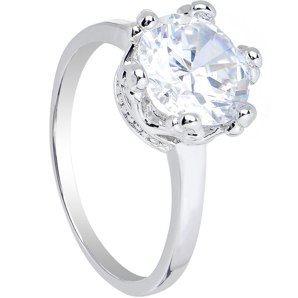 Clear Cubic Zirconia Magnificent Queen Ring Sizes 6 to 8