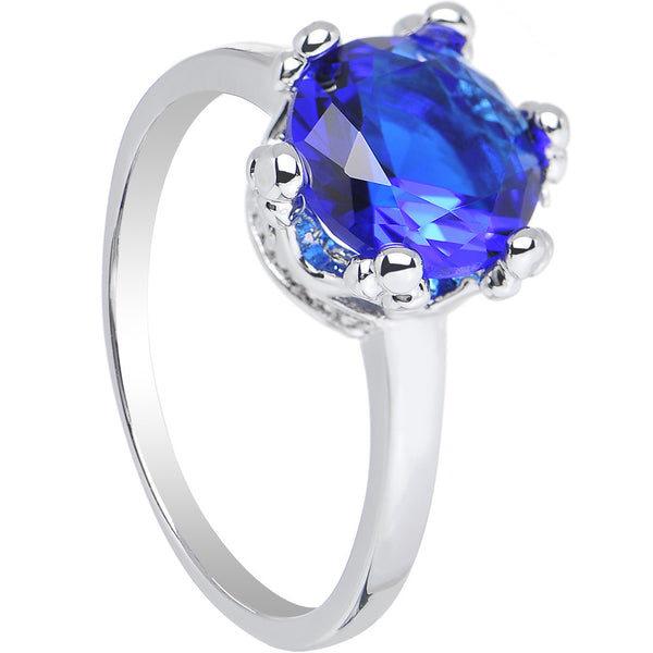 Blue Cubic Zirconia Magnificent Queen Ring Sizes 6 to 8