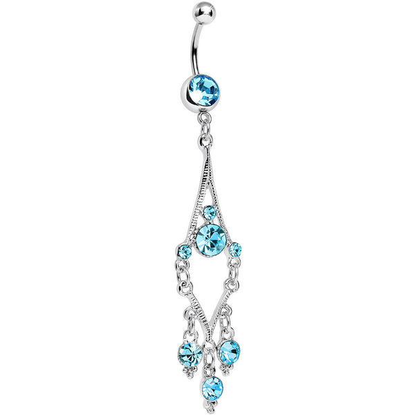 Aqua Gem Mermaid Jewels Chandelier Belly Ring