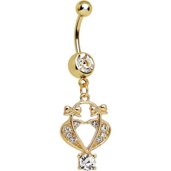 Clear Gem Gold Plated Bow Tied Basket Heart Dangle Belly Ring