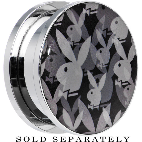 "1"" Officially Licensed Black Gray Playboy Bunny Screw Fit Plug"