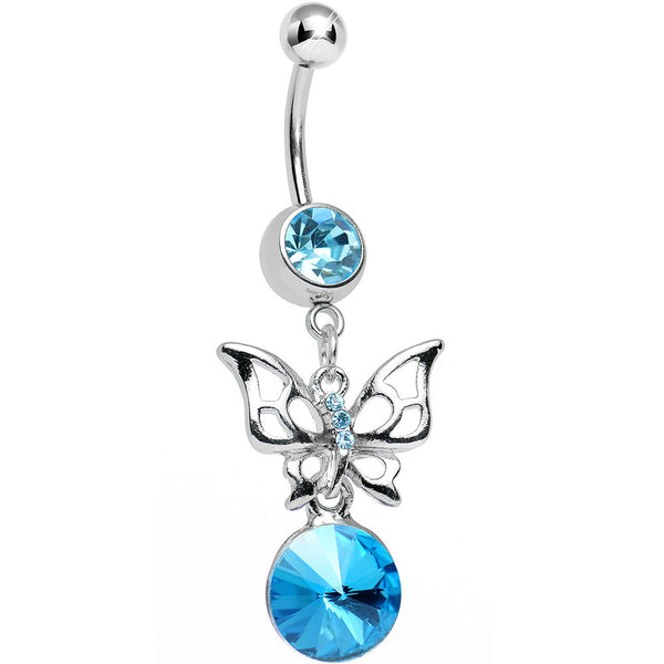 Aqua Gem Round Droplet and Butterfly Dangle Belly Ring