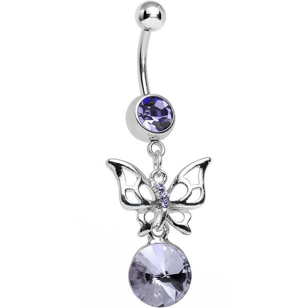Purple Gem Round Droplet and Butterfly Dangle Belly Ring