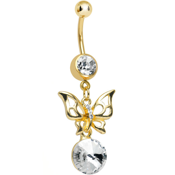 Clear Gem Gold Titanium Round Droplet and Butterfly Dangle Belly Ring