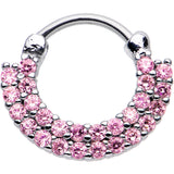 "16 Gauge 3/8"" Pink CZ Double Row of Glamour Septum Clicker"