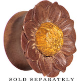 "3/4"" Organic Sawo Wood Lotus Flower Hand Carved Saddle Plug"
