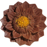 "5/8"" Organic Jackfruit Wood Lotus Flower Hand Carved Saddle Plug"
