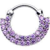 "16 Gauge 3/8"" Tanzanite CZ Double Row of Glamour Septum Clicker"