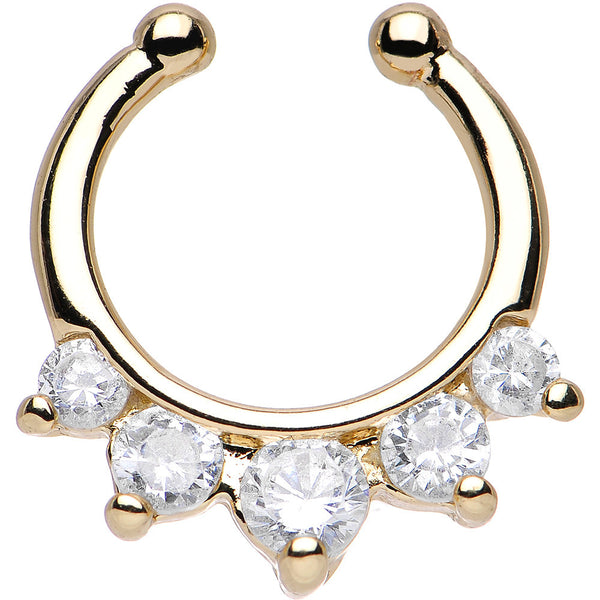 Five Clear Cubic Zirconia Gold IP Non-Pierced Clip On Septum Ring