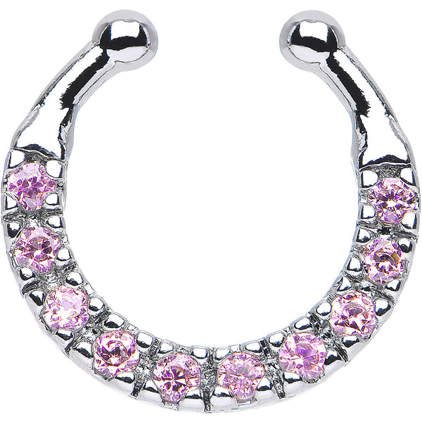 Pink CZ Wreath of Sparkle Non-Pierced Clip On Septum Ring
