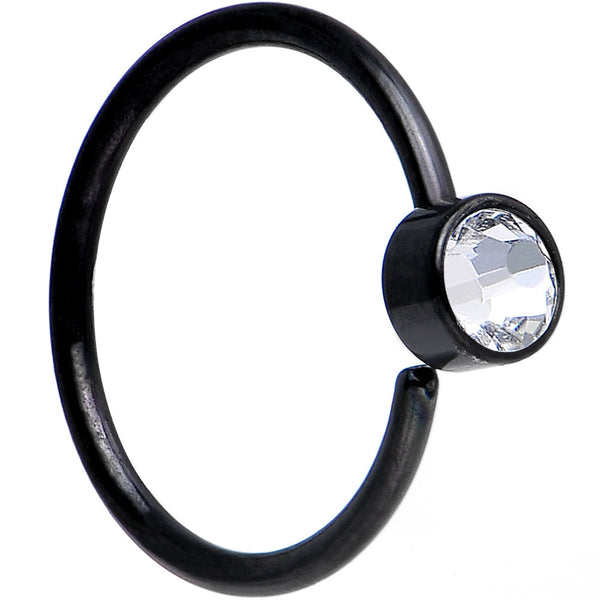 "20 Gauge 5/16"" Black IP Clear Round Cubic Zirconia Nose Hoop"